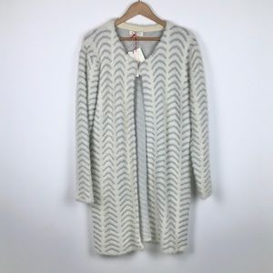 Solitaire fuzzy chevron long duster cardigan